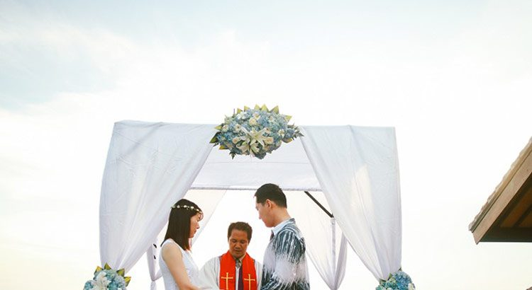 blue point sunset wedding