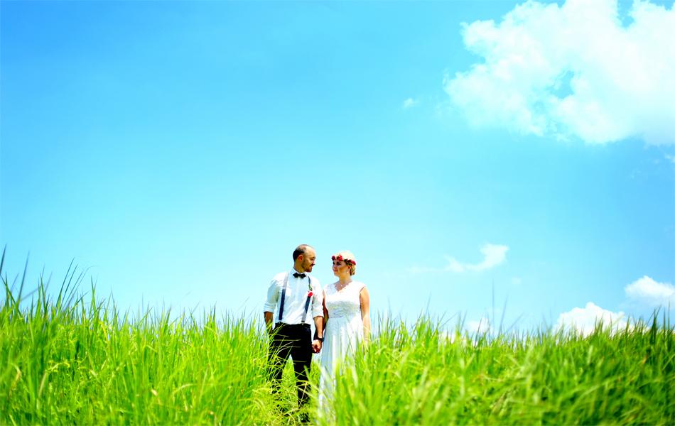 green landscape phot prewedding in ubud