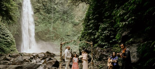 lia and adam kouri waterfall bali wedding