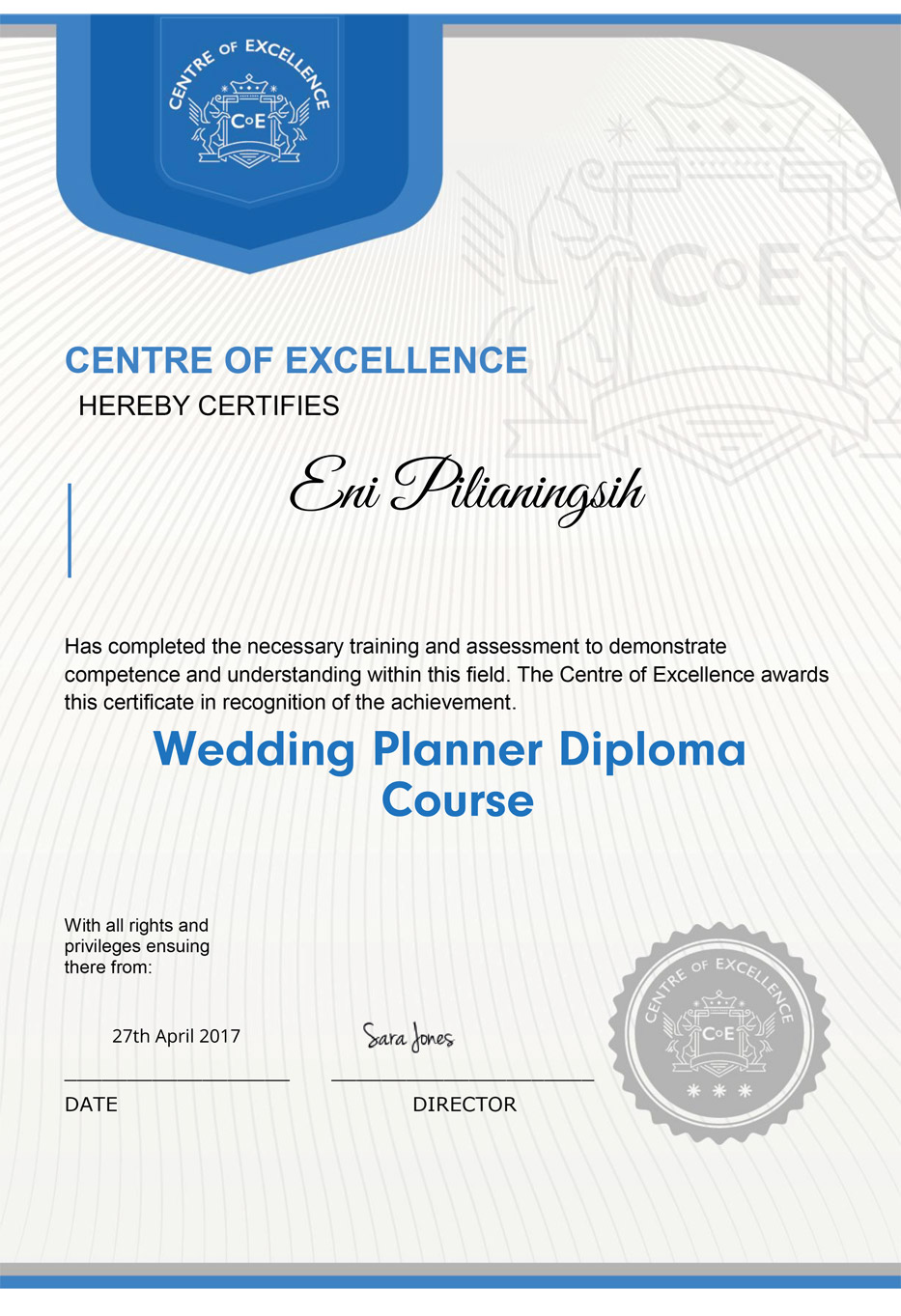 excellent awards for wedding planner
