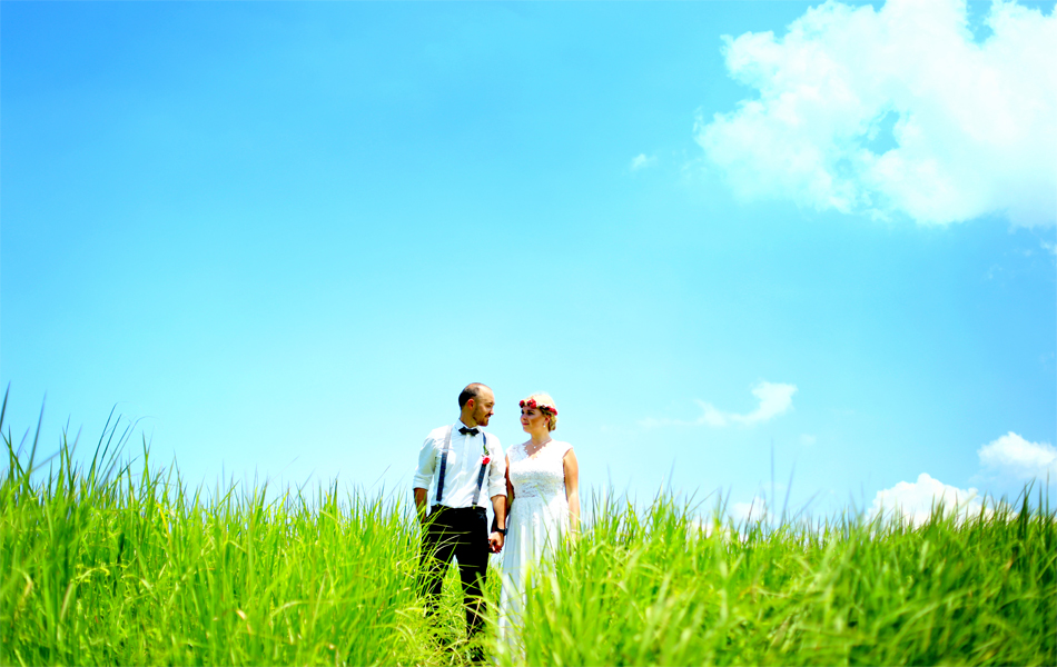 green landscape phot prewedding in ubud