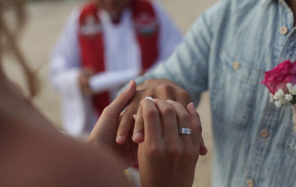 intimate commitment beach wedding