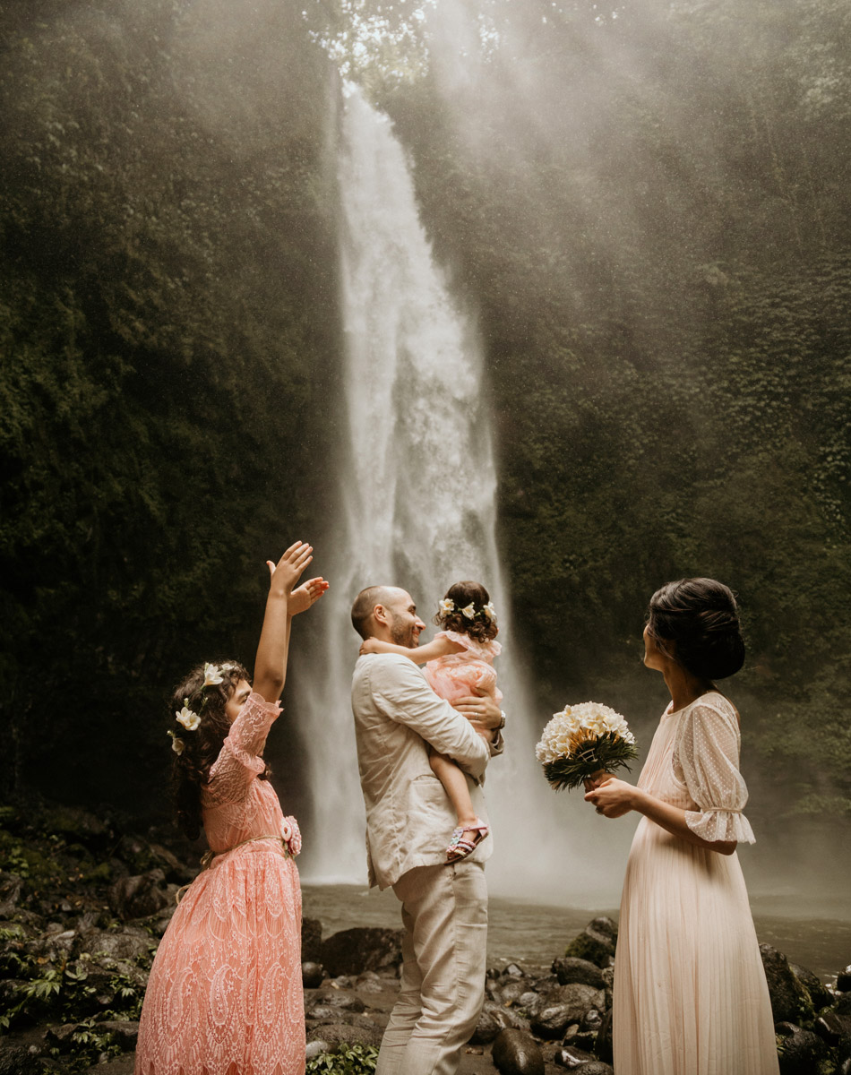 lia and adam kouri waterfall bali wedding