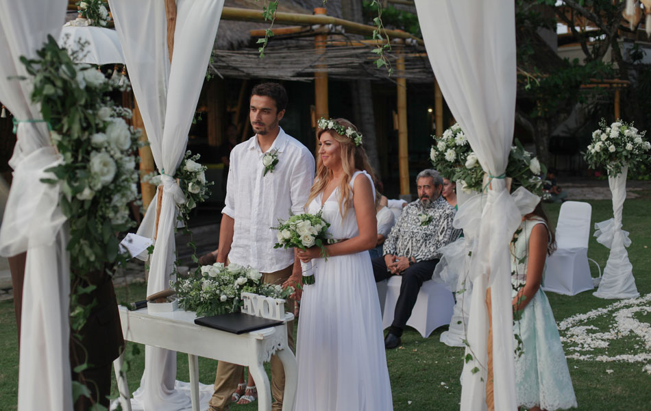 carmen and adam commitment ceremony at bali mandira