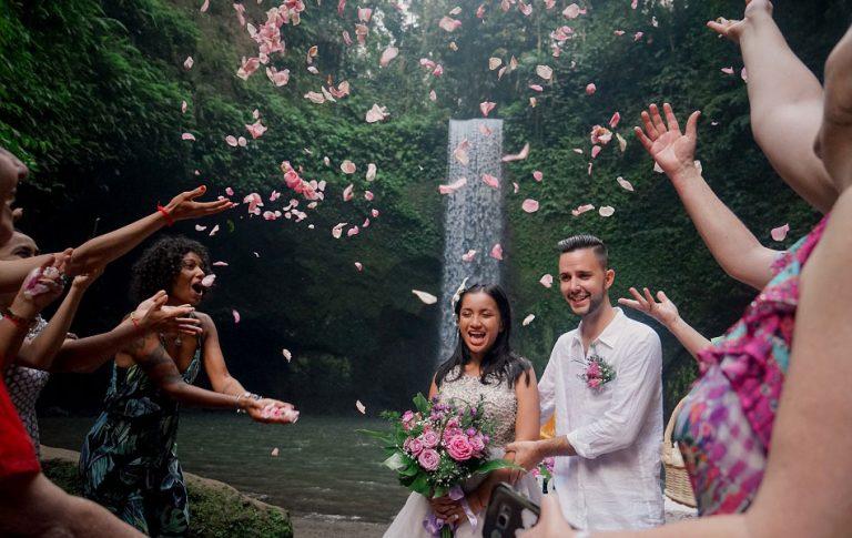 Dane and Harry Tibumana Waterfall Bali Wedding