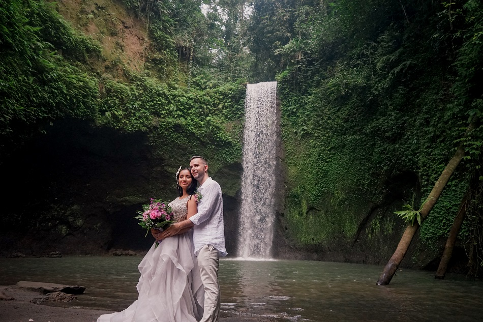 Dane and Harry Tibumana Waterfall Bali Wedding