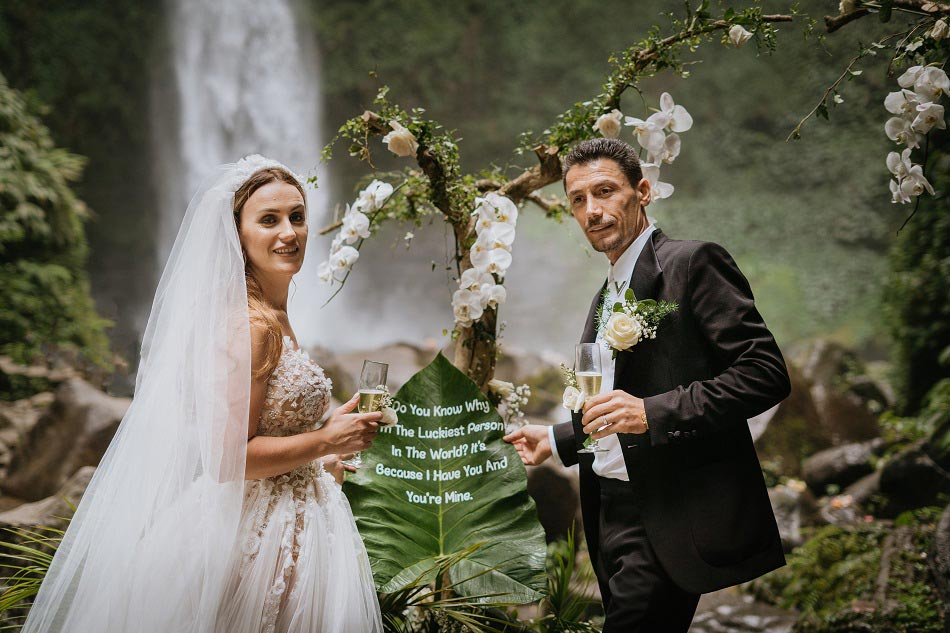 Fati and Oli Waterfall Bali Wedding