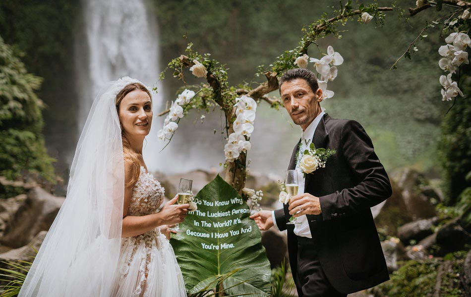Fati and Oli Waterfall Bali Wedding