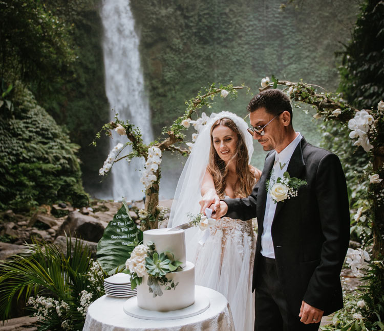 cost of bali wedding waterfall